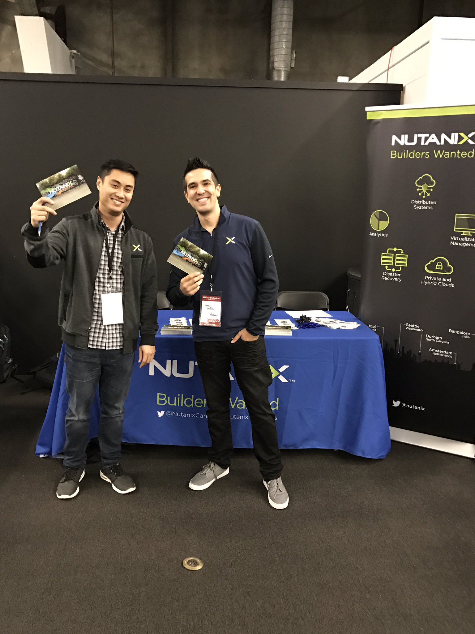 Come chat with Charlie & Omar today at the Tech Inclusion Career Fair from 11am to 3pm to learn about job opps @nutanix #TechInclusion16 https://t.co/EFU8qb4F5O