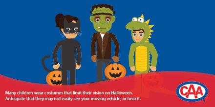 Be mindful that trick-or-treaters on #Halloween wear costumes that may impair their vision. Stay alert and focused. https://t.co/YtkRMfTPBQ