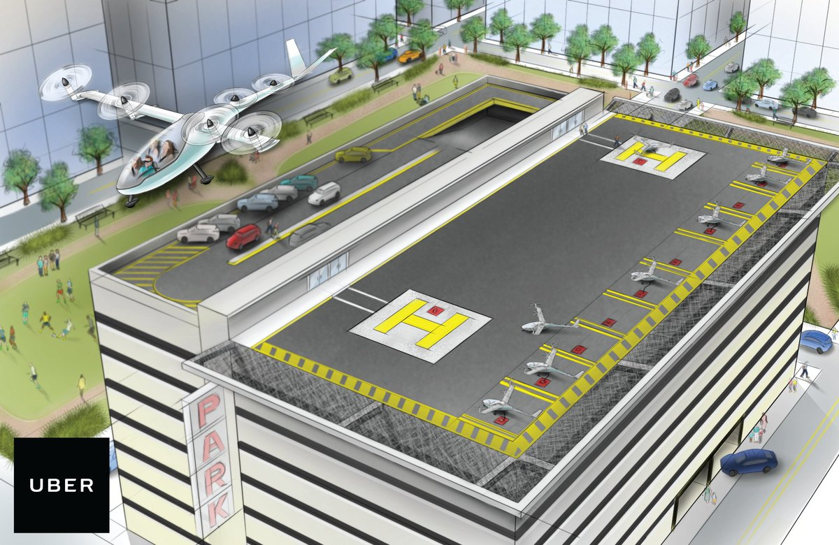 This is what Uber sees as the future of flying cars. via @CSaid