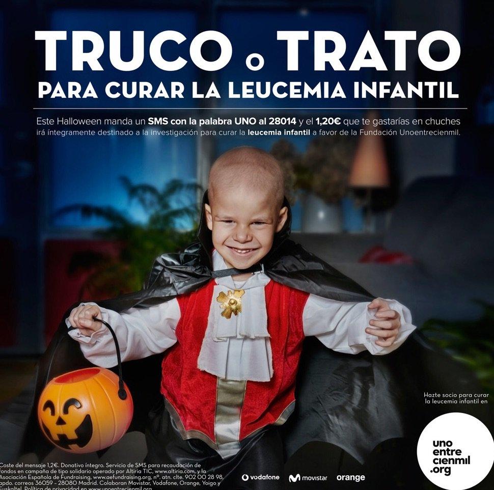 Manda UNO al 28014 y ayuda con 1,20€ a @unoentrecienmil a investigar leucemia #VampiroHugo #UnHalloweenEntreCienmil https://t.co/eDvVrKWDOd
