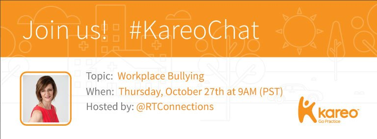 Welcome to #KareoChat with our host, @RTConnections! https://t.co/9pDToWhMfJ Who's ready to talk about the #stress of workplace #bullying? https://t.co/kpL6P6BjWa