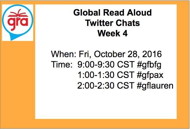Join @GFSchools for Week 4 GRA TwitterChats Fri, Oct 28 Qs  https://t.co/8rF522yERa  #gfbgf #gfpax #gflauren #gra16 https://t.co/CpeWu9bp5g