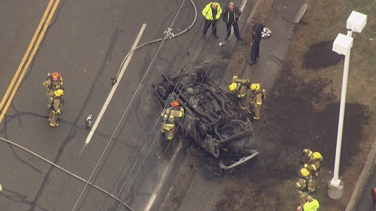 SkyEye over major accident on Fortune Boulevard in Milford. Car was engulfed in flames