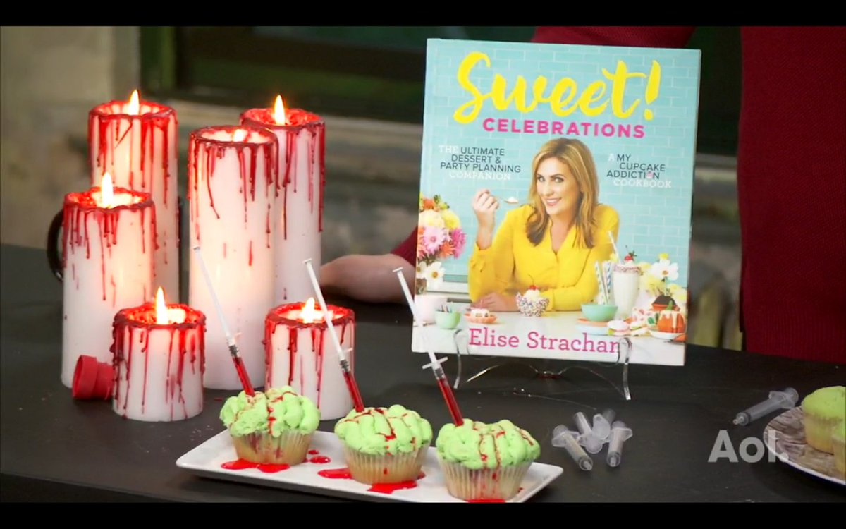 """The syringes add a fun interactive element to the zombie brain cupcakes."" @CupcakeAddictAU talks spooky treats #SweetCelebrationsCookbook <br>http://pic.twitter.com/Fw3EDiJJZ7"