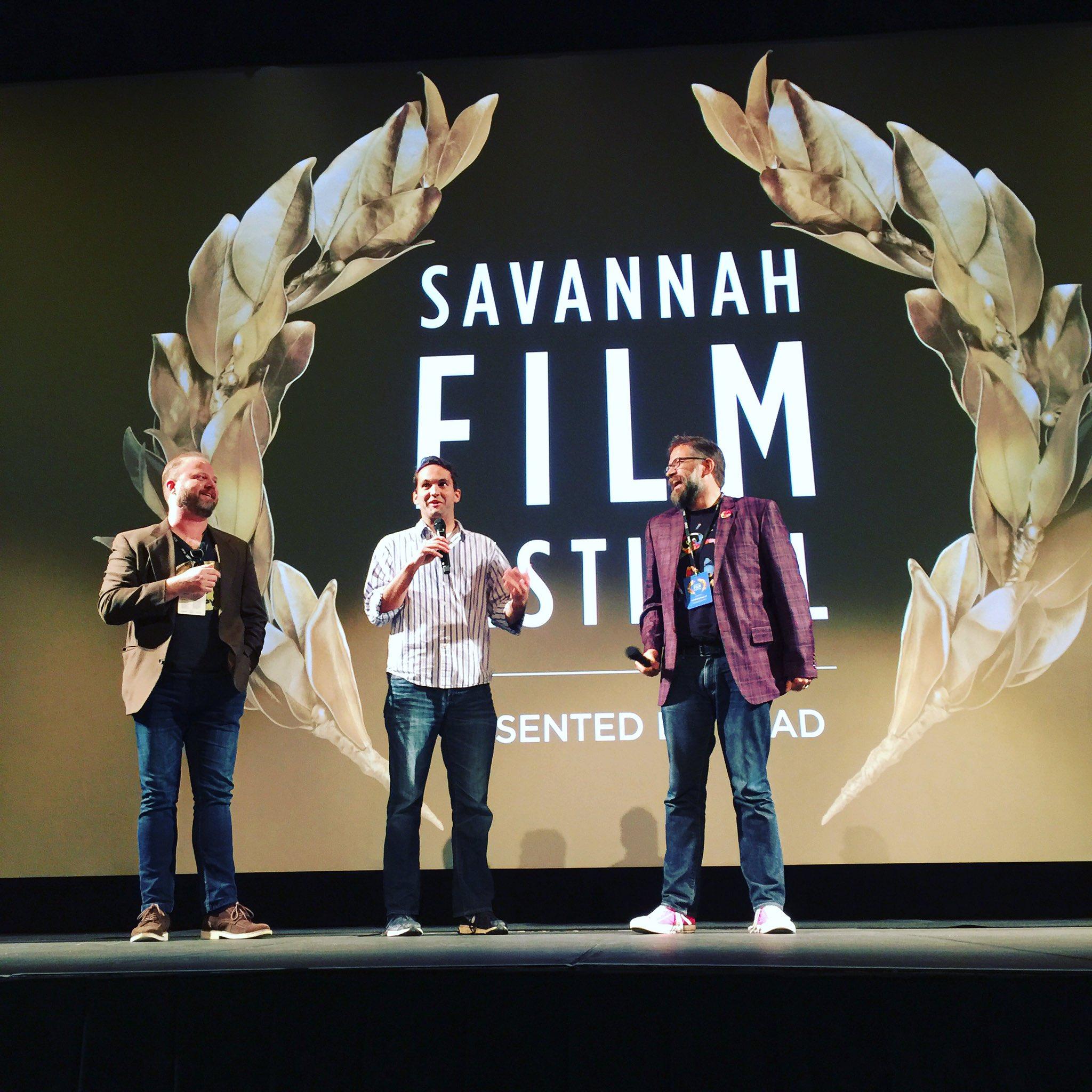 Q & A with Porkchop, Denton and Michael at @savfilmfest. #SavFF https://t.co/Ffj6No42Bu
