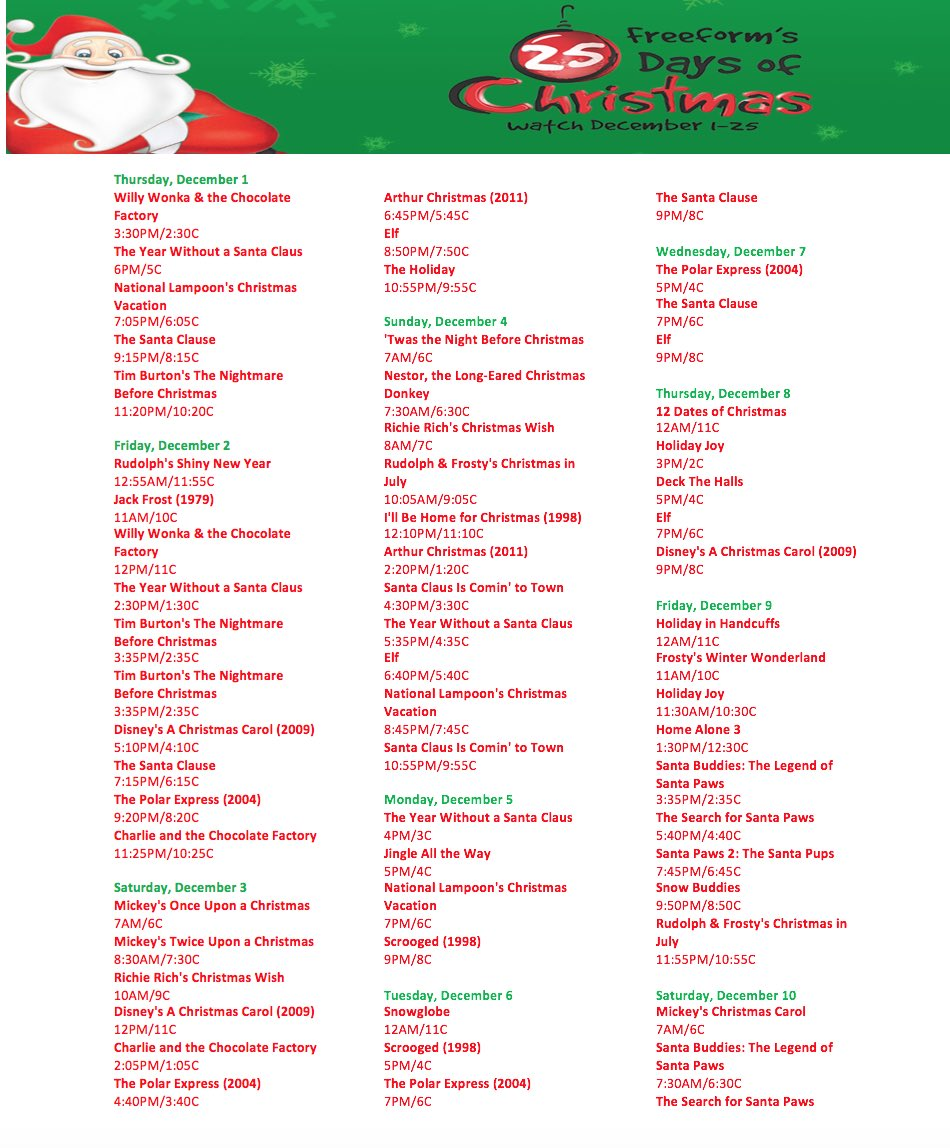 buddy the elf on twitter 25 days of christmas schedule is finally here