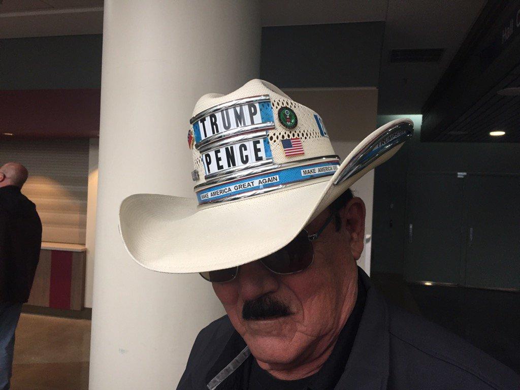 Joe Garcia of Fenton, Ohio, decorated this hat himself. Says Trump is a lot like him.