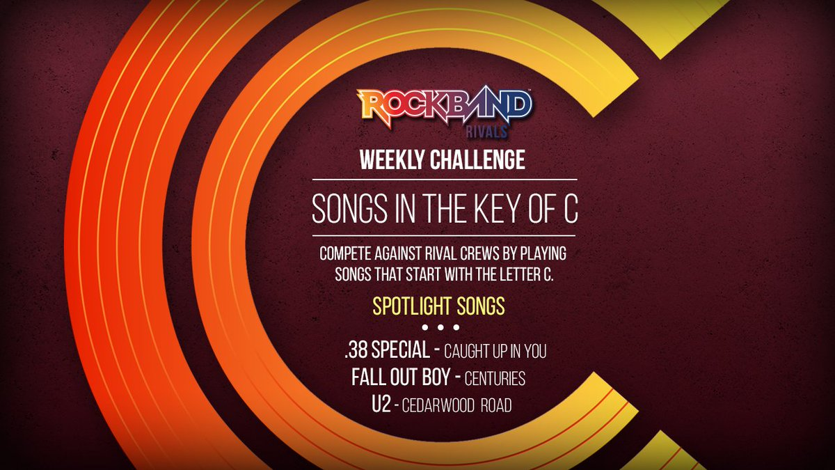 rock band on twitter rock in the key of c this week with your rock band rivals weekly challenge including all songs beginning with the letter c