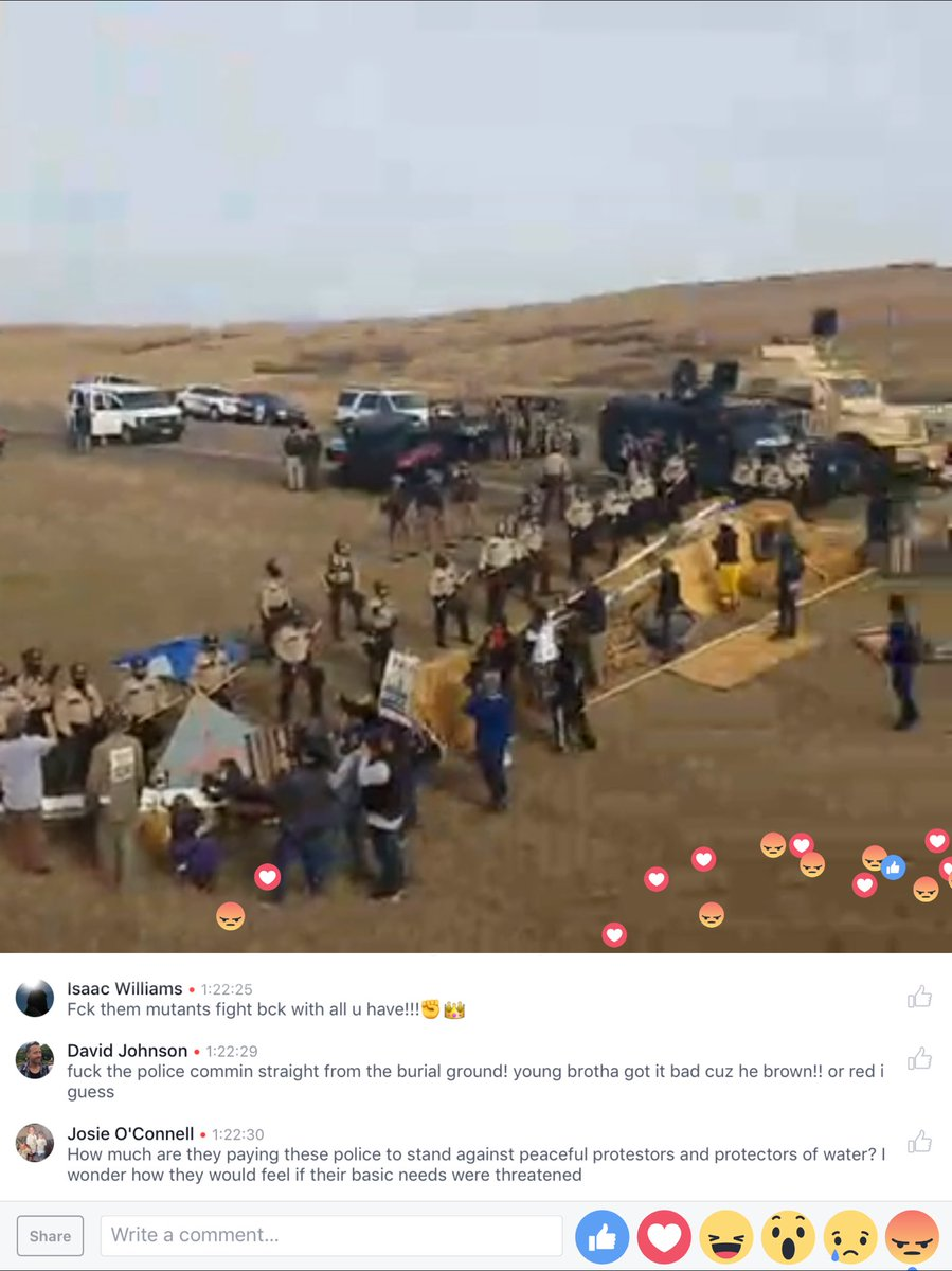 Some of the images from on of the #NODAPL front line feeds streaming live on FB https://t.co/Ul5V4Xptwx