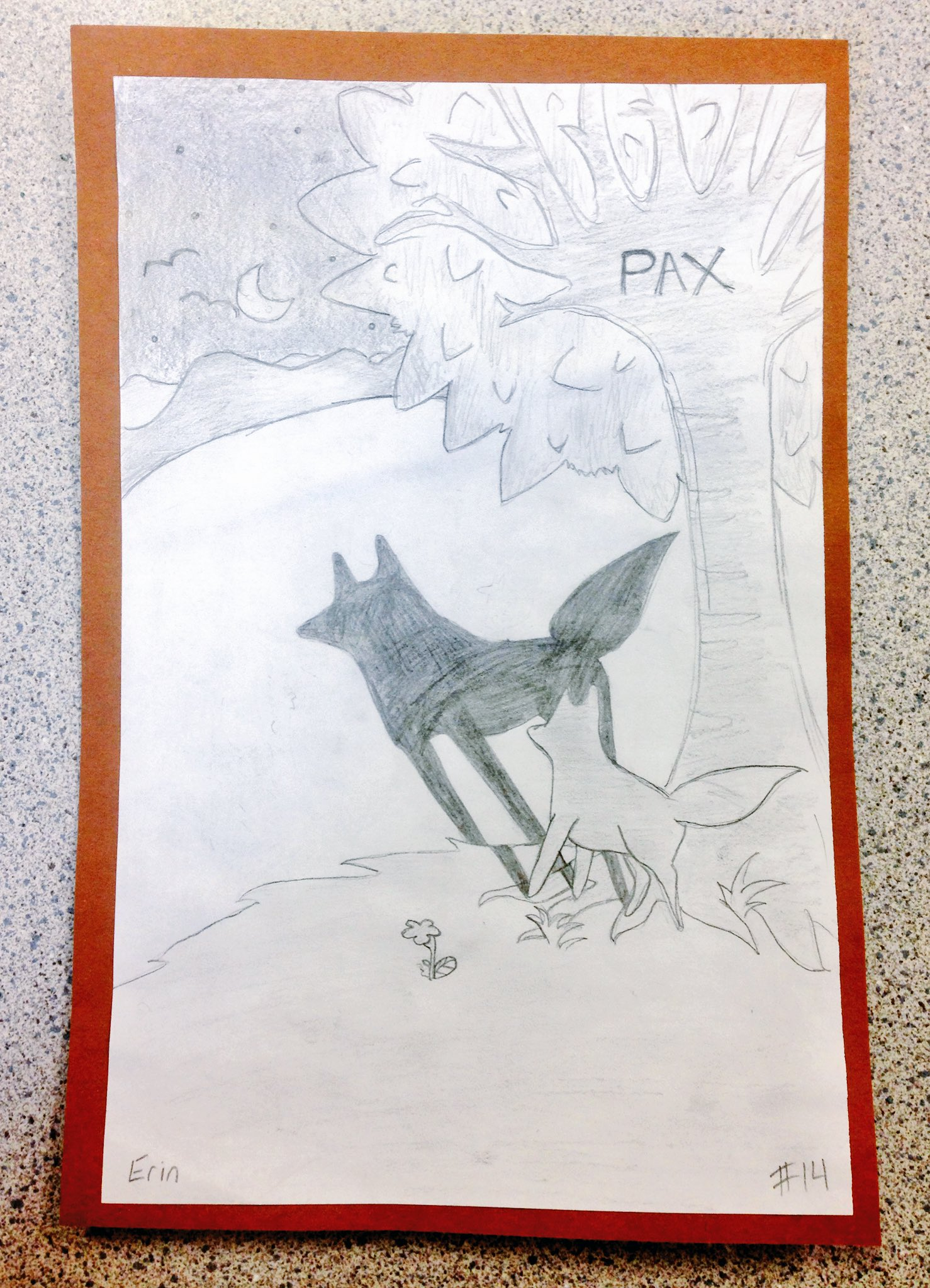 """""""Pax"""" art inspired by the photos throughout the novel. We incorporated shading and perspective. #GRAPax #GRA16 #SD36Learn #SullivanELearns https://t.co/G6viFUZ44Y"""