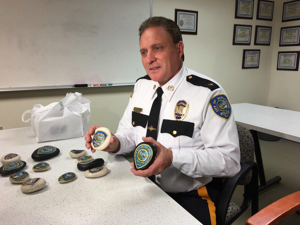 Burlington Rocks! Police Chief Alan Snow looks over painted rocks to be hidden thru town. I'll explain 6abc at 5