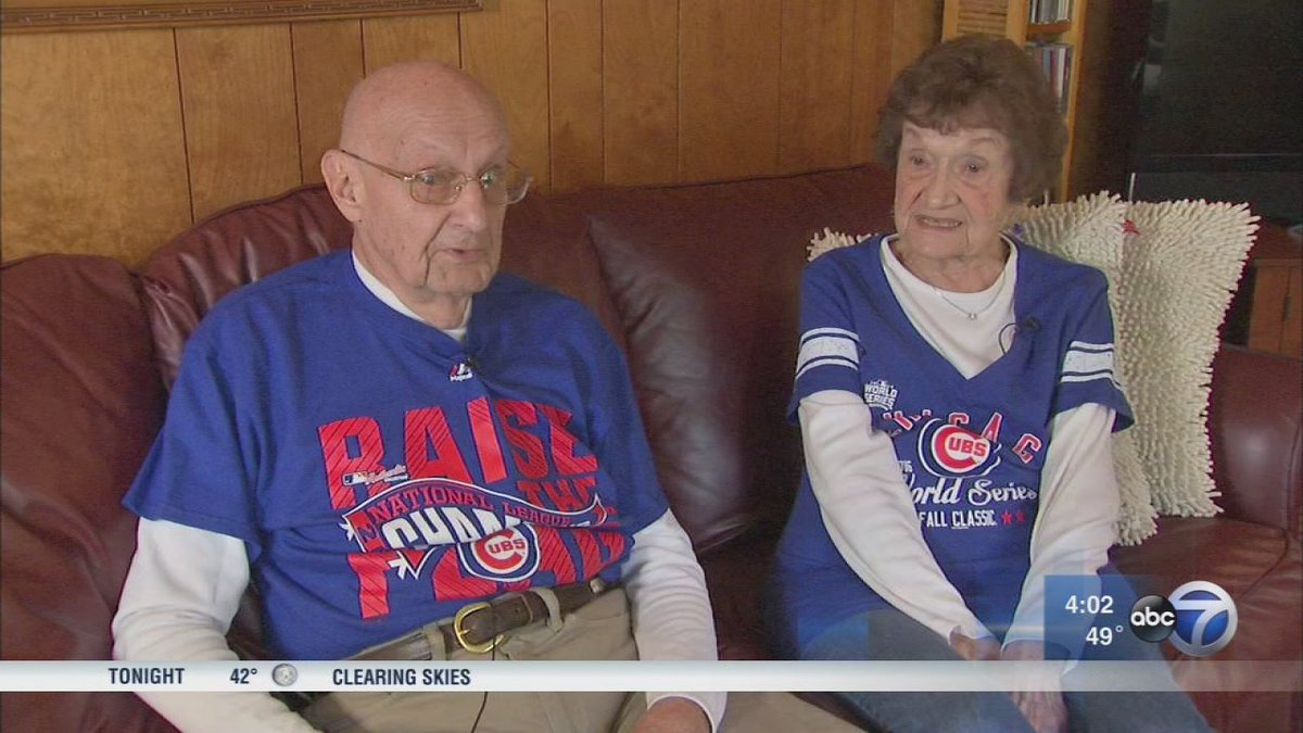 Couple married for over 70 years love Cubs as much as each other...