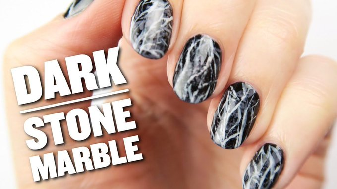 Dark Stone Marble Nail Art Design CutePolish Beauty Nails -