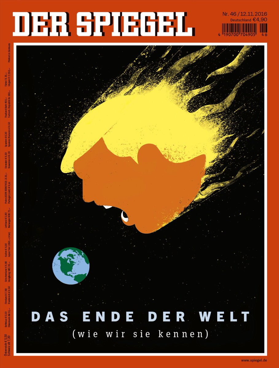 The new @DerSPIEGEL cover story on Trump's election will be online in English this evening (European time).