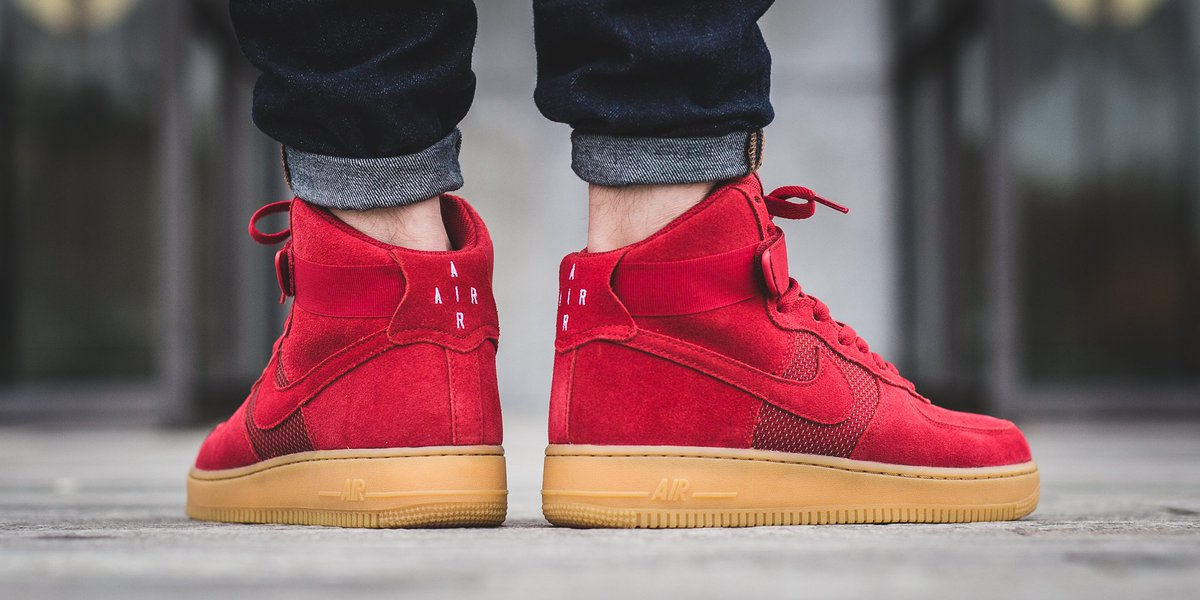 innovative design bae6e 60ece NEW IN! Nike Air Force 1 High  07 LV8 - Gym Red Gym Red-Gum Light Brown  SHOP HERE  http   bit.ly 2fSdOhg pic.twitter.com uQjyxO2k3F