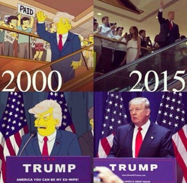 アニメ『ザ・シンプソンズ』が2000年に放送した回でドナルド・トランプ氏の勝利を予測していたとネット上で話題になっている。via @Benoo_Brown #大統領選 #トランプ #Simpsons