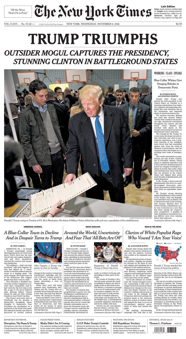 Thumbnail for US election: Trump's win dominates front pages