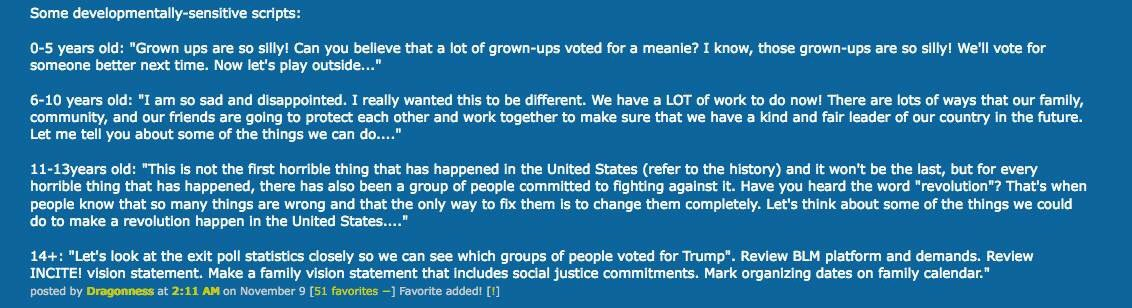 """Some age-appropriate suggestions from Metafilter (via my pal Marla) on""""What to tell the children"""" re: Trump https://t.co/5z7BrlZM0O"""