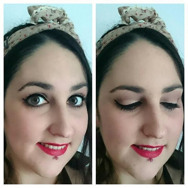 Super-quick fifties makeupoftheday with liner & red lips! bbloggers beauty makeup fotd