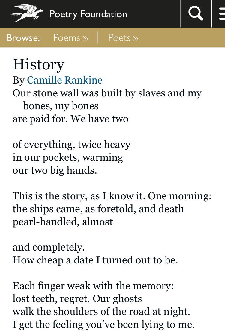 "Poems. ""History,"" by Camille Rankine: https://t.co/EMhH3N0VoB https://t.co/pBImrQ2rk4"