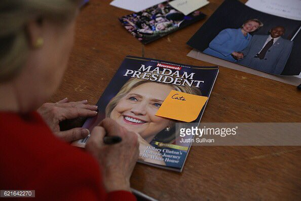 This @sullyfoto pic from Monday- @HillaryClinton signs an early @Newsweek Madam President cover