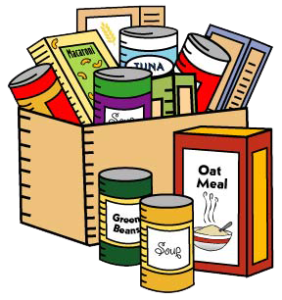 4C's Donations: Canned Veggies, Sloppy Joe's, Beans, Fruit, Tuna, Meat Boxed Crackers, Cookies, Mac and Cheese Boxed Noodle, Jello, Cereal