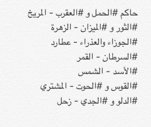 트위터의 سمايا أرفلون 님 حكام الأبراج
