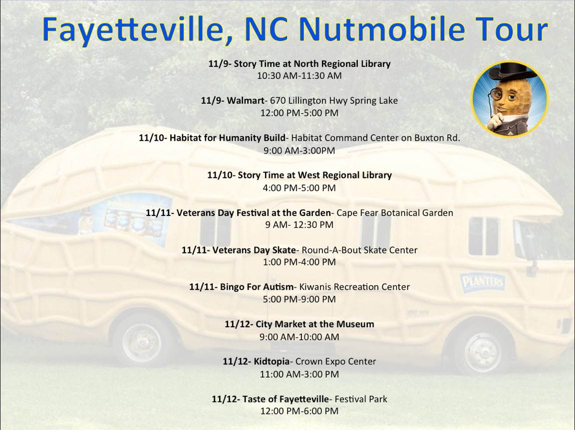 Planters Nutmobile On Twitter Fayetteville Nc Help Us Fill The Nutmobile With Canned Goods For Hungercantwait Today At Walmart Until 5 00 Pm