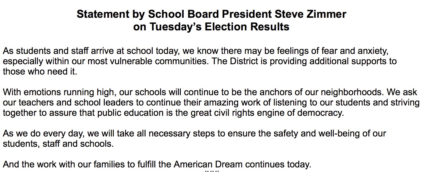 ".@lausd_zimmer on #election2016: ""With emotions running high, our schools will continue to be the anchors of our neighborhoods."" https://t.co/RzrA8sYyh8"
