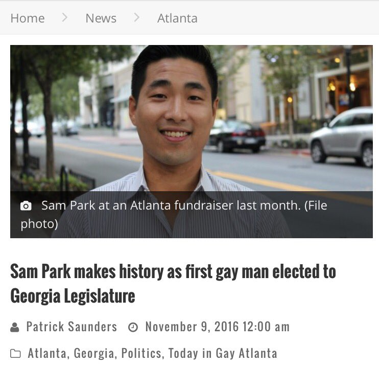 Congrats to Sam Park, first openly gay man elected to Georgia legislature https://t.co/M4YOhGYn7S https://t.co/NaY7KodH6h