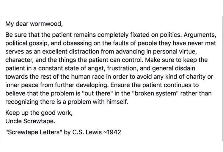 As always... @CSLewis pretty much nailed it! #Screwtape #USElection2016 #Trump https://t.co/8OhvQUsXrJ