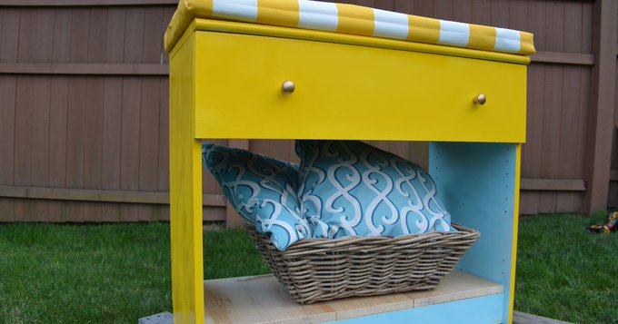DIY Project: Turn an old dresser from a HabitatReStore into extra storage & seating.