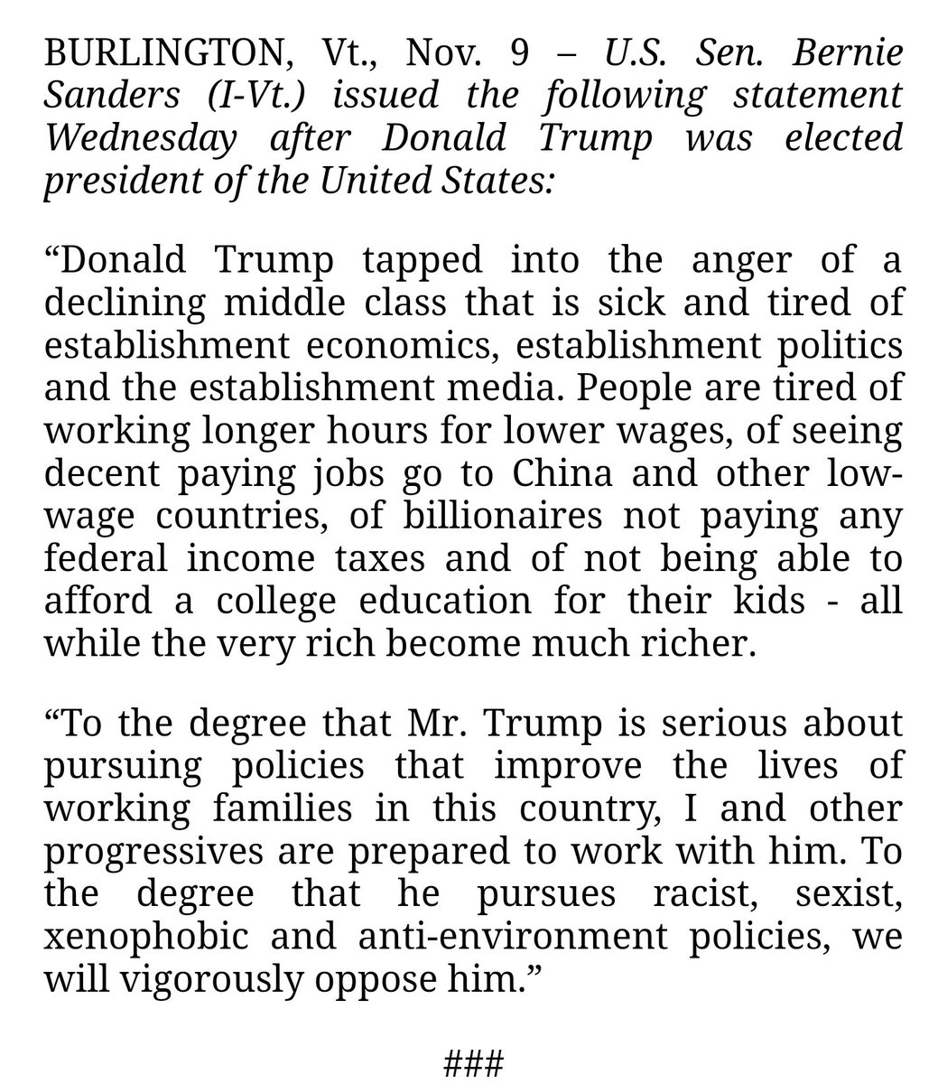 Bernie Sanders finally out with a statement: https://t.co/bltV4ap0mT