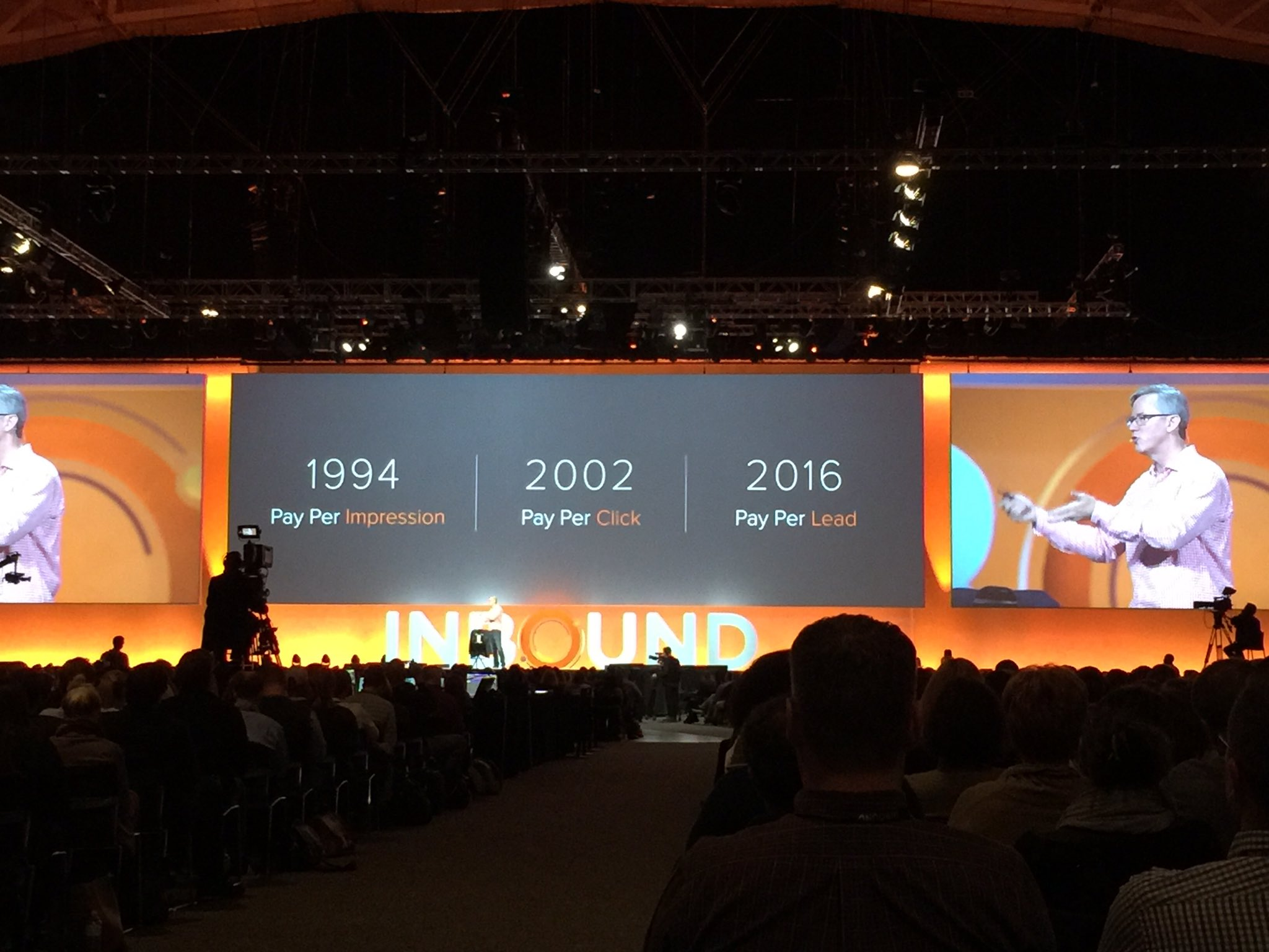 Pay per lead is the new pay per click. This is Zuckerberg's world. @bhalligan #INBOUND16 https://t.co/C11smwFRga