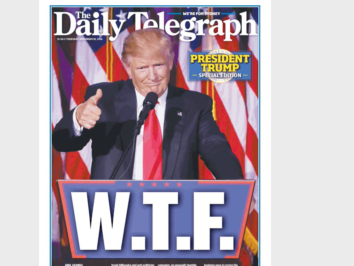 Sydney's tabloid Daily Telegraph doesn't hold back. https://t.co/Qn8AC9T5Lj