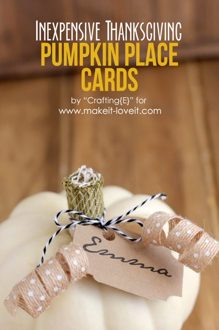 Inexpensive Thanksgiving PUMPKIN PLACE CARDS DIY