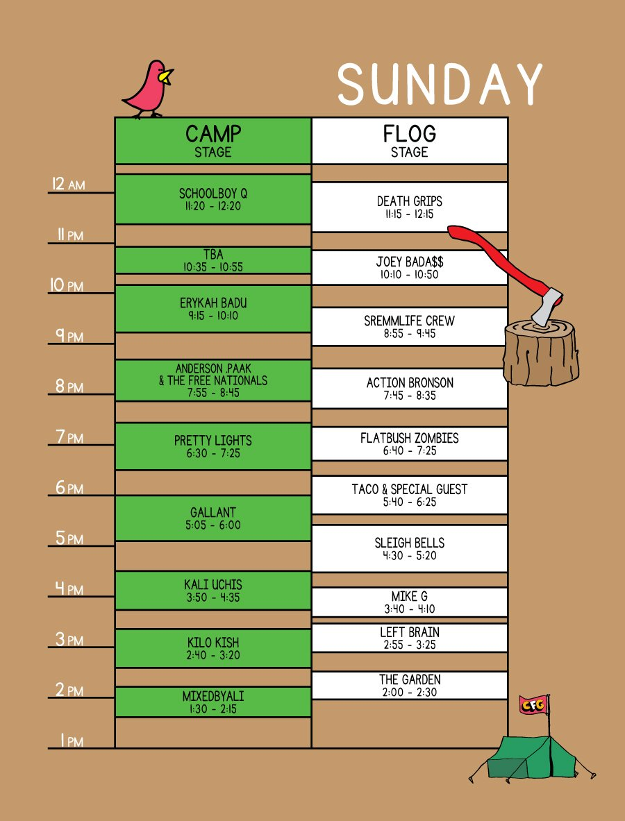 Camp Flog Gnaw 2017 Lineup Days