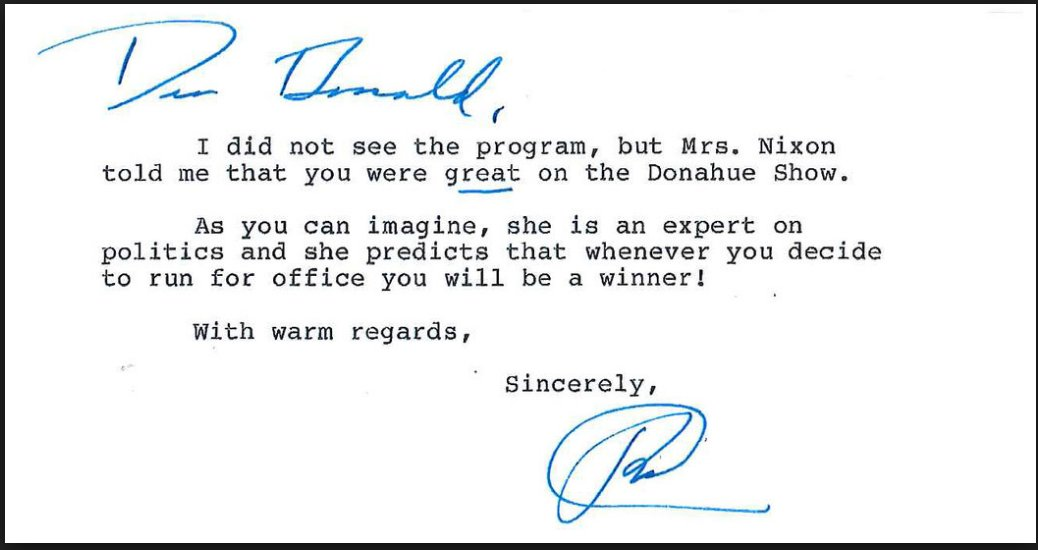 "ICYMI: Letter from Nixon to Trump, dated 1987."" ..Whenever you decide to run for office you will be a winner."" https://t.co/TAa4ndDtNr"