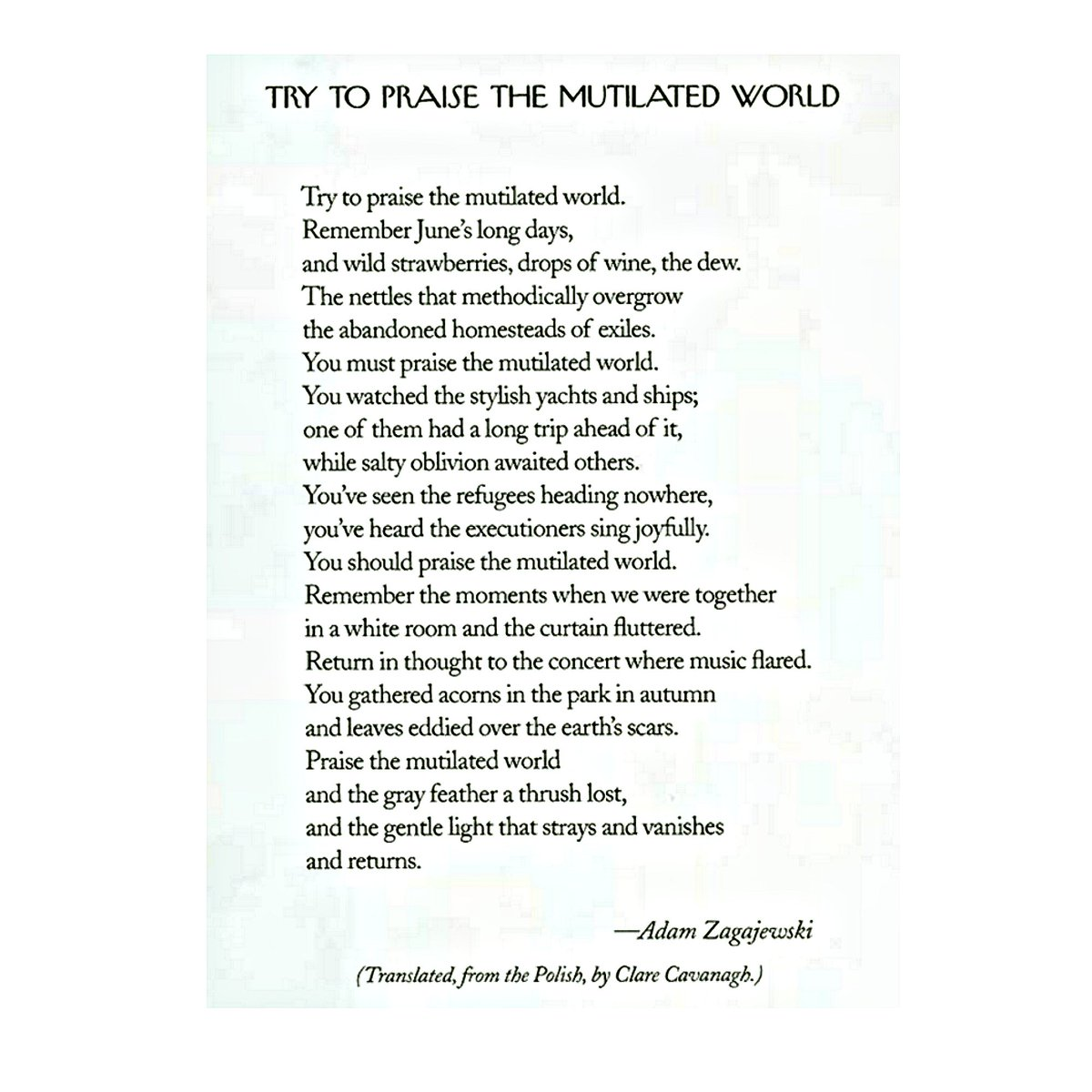 Try to Praise the Mutilated World