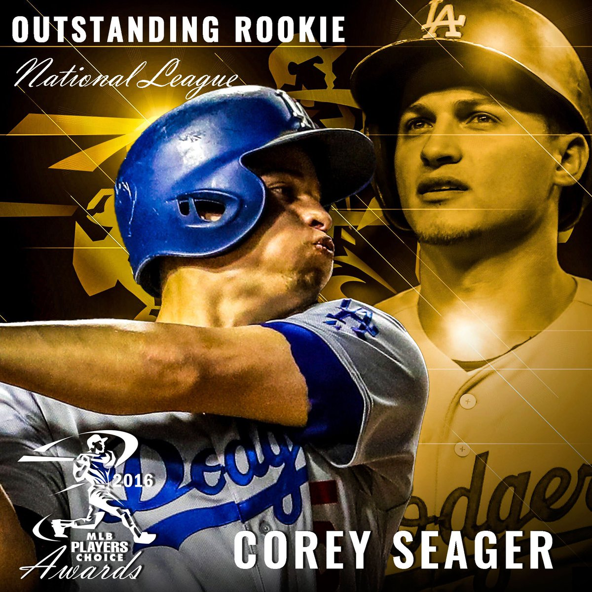 Welcome to @MLBTheShow! Congrats #PlayersChoiceAwards16 NL #OutstandingRookie @coreyseager_5 @Dodgers https://t.co/f4MJBiRHwU