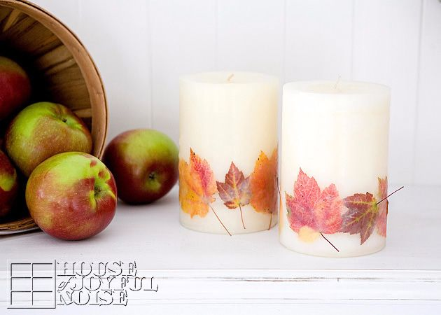 Get crafty this fall by embedding leaves into store-bought candles: DIY homedecor