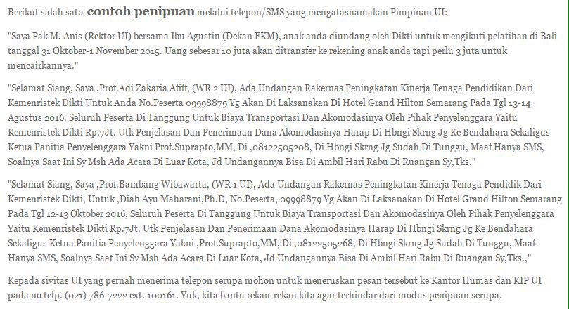 Universitasindonesia Na Tviteru 7 Pengumumanui Berikut Contoh