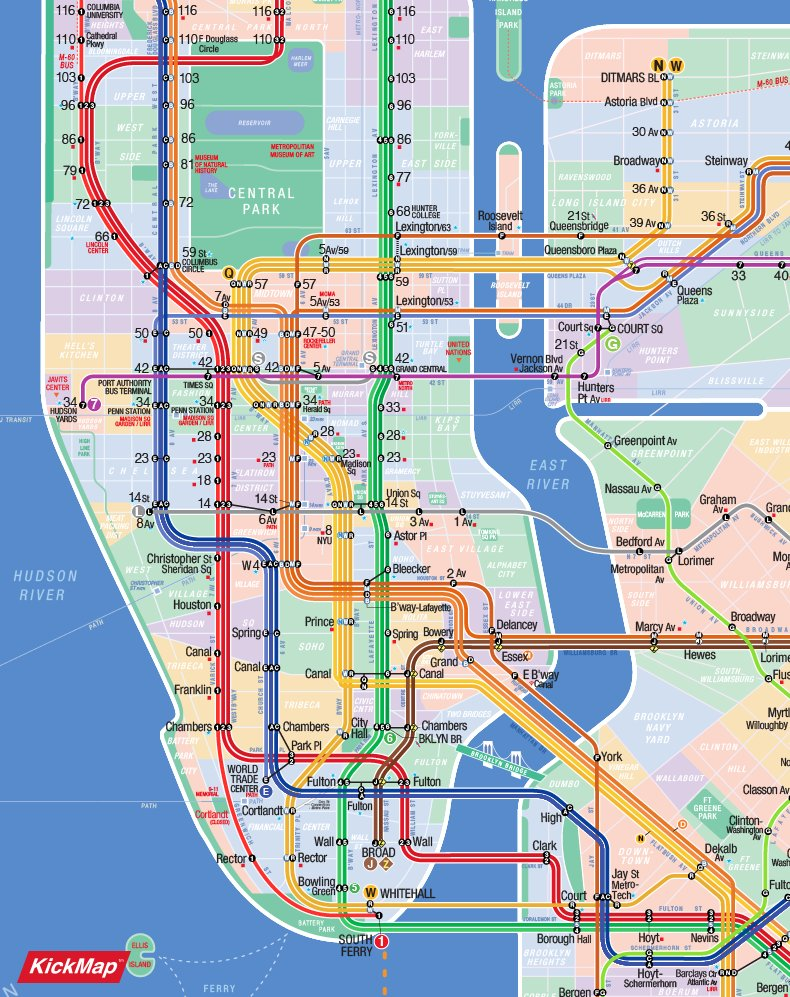 Q Line Subway Map.Kickmap On Twitter Updated Nyc Subway App Showing Both On Map