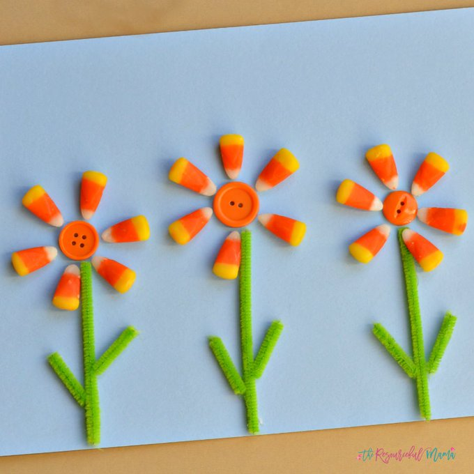 Candy corn flowers fall kidscraft crafts candycorn