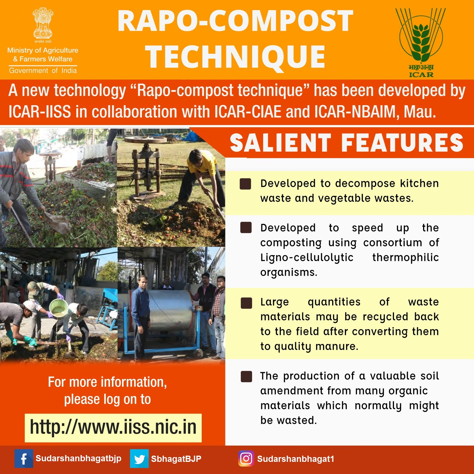 """A new technology """"Rapo-compost"""" has been developed by ICAR-IISS in collaboration with ICAR-CIAE and ICAR-NBAIM, Mau. #TransformingIndia https://t.co/i9PuvNIflc"""