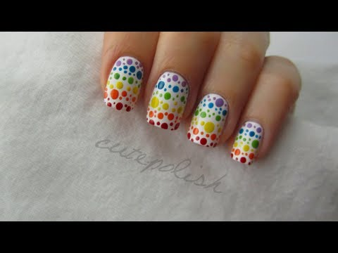 Rainbow Spotted Nail Art CutePolish Beauty Nails -