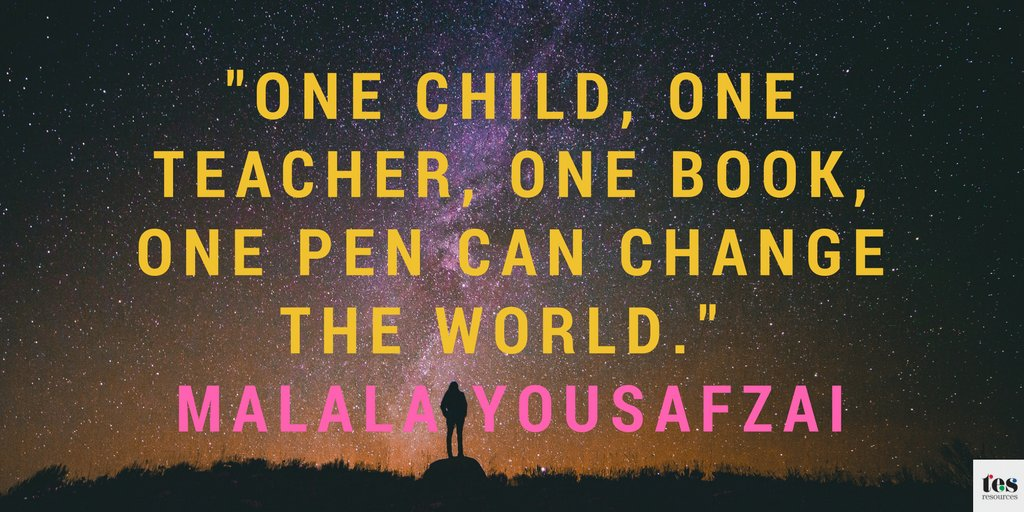 """One child, one teacher, one book, one pen can change the world."" - Malala Yousafzai #ThursdayQuote #EducationQuote https://t.co/DgsusSjsVL"