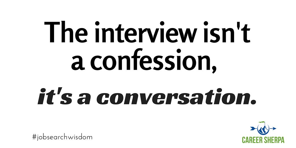 Treat your interview like a conversation! Have questions ready and don't confess TMI. #jobsearchwisdom https://t.co/G8ZrLbyiqu