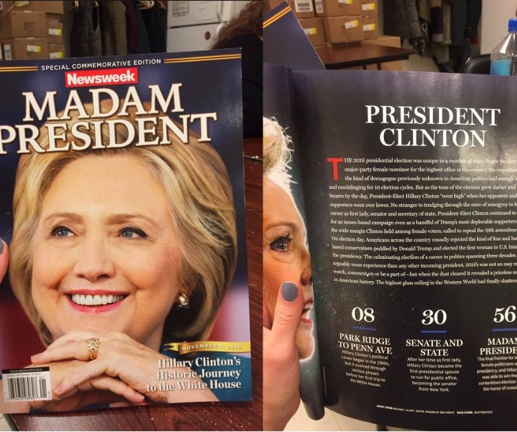 Newsweek поошибке пустил в реализацию номер опобеде Клинтон