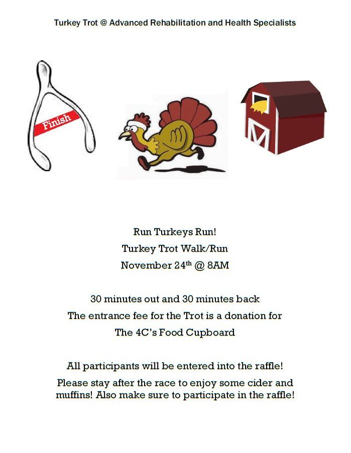 We are excited to see everyone on November 24th at 8am for our Turkey Trot!